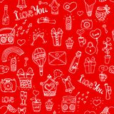Love pattern. Seamless red love pattern vector illustration Stock Photos