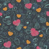 Love pattern. Love vector background with heart and hot tea. Vector illustration for valentines and wedding design Royalty Free Stock Image
