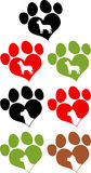 Love Paw Prins With Dog Head Silhouette. Collection Set Stock Photography