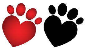 Love paw print vector illustration