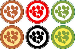 Love Paw Print Circle Banners. Collection Set Royalty Free Stock Image