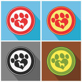 Love Paw Print. Collection Set Royalty Free Stock Photos