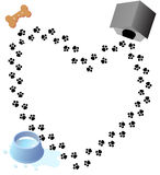 Love Paw Prints Dog Treat. Puppy love heart trail of paw prints through doggy treat water bowl kennel house royalty free illustration
