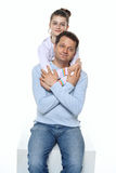 Love and peace. Father and daughter relations - smiling in studio royalty free stock photo