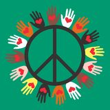 Love and peace. Illustration of lot of hands around a peace symbol Stock Photography