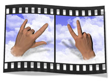 Love and Peace. Signs for Love and Peace lifting up through the clouds Stock Images