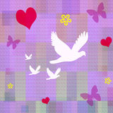 Love & Peace. A decorative wall paper with hearts, butterflies and flowers floating on a violet plaid back round Royalty Free Stock Image