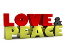 Love & Peace 3D Lettering Royalty Free Stock Image