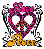Love Peace Heart. Retro design of a love-peace symbol with the words, Love and Peace in a swirly border Royalty Free Stock Photography