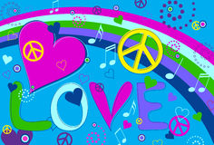 Love Peace and Hearts. Abstract concept collage of hearts, peace signs and rainbow and the text Love Royalty Free Stock Image