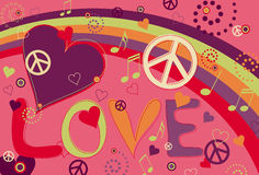 Love Peace and Hearts in Pink. Abstract concept collage of hearts, peace signs and rainbow and the text Love Stock Photo