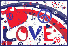 Love Peace and Hearts in Red White and Blue. Abstract concept collage of hearts, peace signs and rainbow and the text Love Stock Images