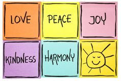 Love,  peace, kindness, joy and harmony. Love,  peace, joy, kindness, and harmony with sun smiley -   set of sticky notes with inspirational words Stock Image