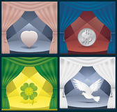 Love peace money luck. Four theater scene with a veil and articles; Objects symbolize love, money, happiness and freedom; vector illustration Royalty Free Stock Photography