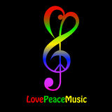 Love, peace and music. On black background. Symbol formed with treble clef, bass cleff and peace sign Royalty Free Stock Photography
