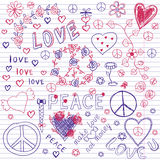 Love, Peace & Music Sketchy Notebook Doodles stock illustration