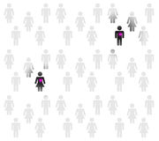 Love people. A lot of people, pink couple falling in love, black background vector illustration
