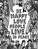 Love people positive emotion poster gray scale Stock Photos