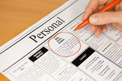 Love in the Personal Column Adverts in Newspaper Stock Photo