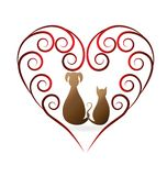 Love pets cat and dog vintage icon logo. Love pets cat and dog vintage design logo vector image id card graphic symbol template Royalty Free Stock Photography
