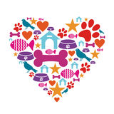 Love for pets icon collection. Heart shape made with pets care icons set. Vector file available Stock Images