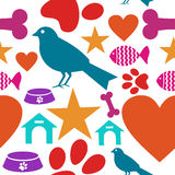 Love for pets icon seamless pattern. Pets care icons set seamless pattern background. Vector illustration layered for easy manipulation and custom coloring Royalty Free Stock Images