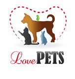 Love pets  silhouettes logo. Love pets colorful silhouettes icon business card vector Stock Photography