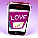 Love Phone Shows Key to Affectionate Feelings Stock Photography