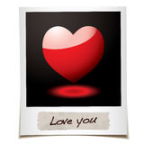 Love photo. Instant photograph with red love heart and message Royalty Free Stock Images