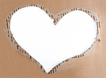 Love photo frame of torn cardboard Stock Photos