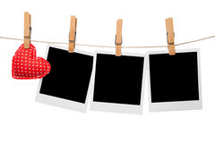 Love photo frames. Hanging on line Stock Image