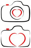 Love with photography camera heart with line art logo. Simple illustration of Love with photography camera heart with line art logos on white background royalty free illustration