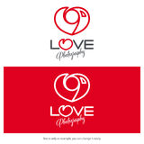 Love photography logo design. Minimal camera icon heart shaped. Minimal photography logo design love concept. Vector camera heart icon Royalty Free Stock Images