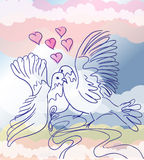 Love pigeons. Illustration of two pigeons in love presenting wedding theme Royalty Free Stock Photography