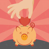 Love and piggy. Illustration of the concept of saving a heart on a piggy. The grunge texture is removable from the background Stock Images