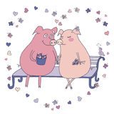Love pigs sitting on a bench in a heart of butterflies. Couple of pigs. Romantic trendy colorful illustration with pigs, bird, butterflies, flowers and hearts Stock Photos