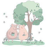 Love pigs sitting on a bench under a tree with a bird. A romantic illustration hand drawn. Love, dating, Valentine's Day Royalty Free Stock Images