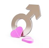 Love pill for men. On a white background Royalty Free Stock Photos