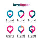 Love pin logo, love finder logo. Love placeholder with heart icon vector,Romantic date location symbol, logo illustration Royalty Free Stock Images