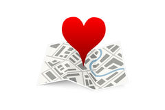 Love pin on map gps location icon isolated on Stock Photography