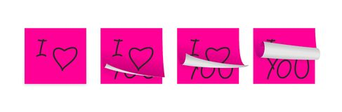 Love pink adhesive papers Stock Photo