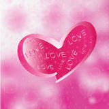 Love in pink heart on  bokeh background Royalty Free Stock Images
