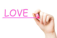 Love, pink marker Stock Photography