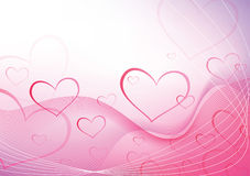 Love pink waves.Valentine`s hearts Royalty Free Stock Photos