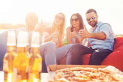 We love pizza and beer! Royalty Free Stock Images