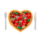 Love pizza. Pizza in the shape of heart on white background stock illustration