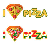 Love Pizza. Vector flat pizza's icons in heart shape top view. Logo concept. Love Pizza Stock Photos