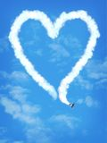 Love plane. A very special trick with the plane (computer composition royalty free stock photo