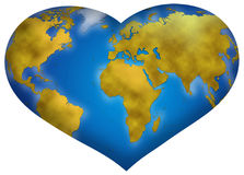 Love for planet earth conceot. Entire world planisphere in heart shape, digital illustration Stock Images