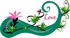 Love with Plant Swirls and Flowers Royalty Free Stock Images